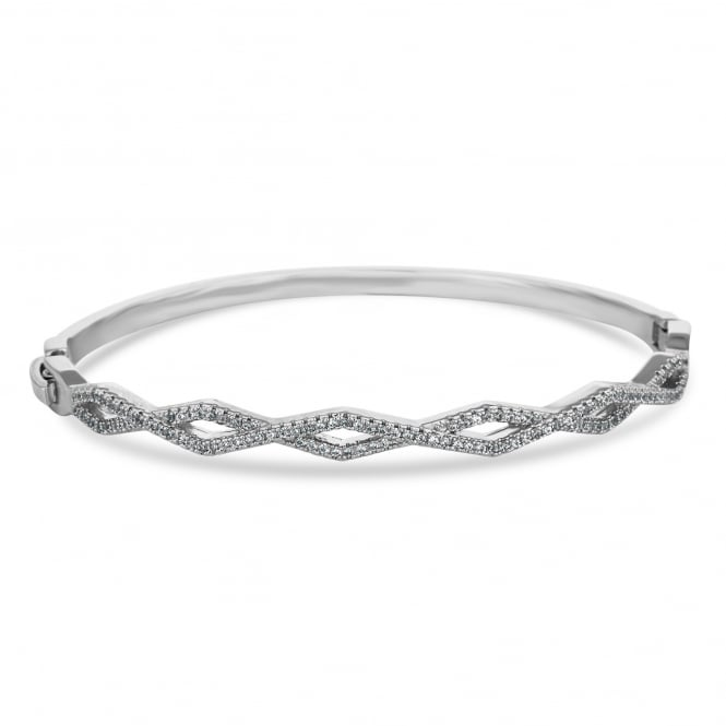 Silver Plated Geometric Pave Bangle