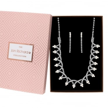 Silver Plated Glass Diamante Faux Pearl Twist Jewellery Set In A Gift Box