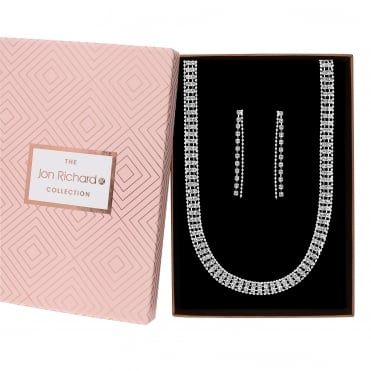 Silver Plated Glass Diamante Jewellery Set In A Gift Box