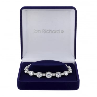 Silver Plated Graduated Cubic Zirconia Bracelet In A Gift Box