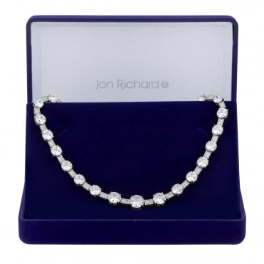Silver Plated Graduated Cubic Zirconia Necklace In A Gift Box