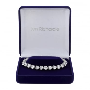 Silver Plated Graduated Heart Cubic Zirconia Bracelet In A Gift Box