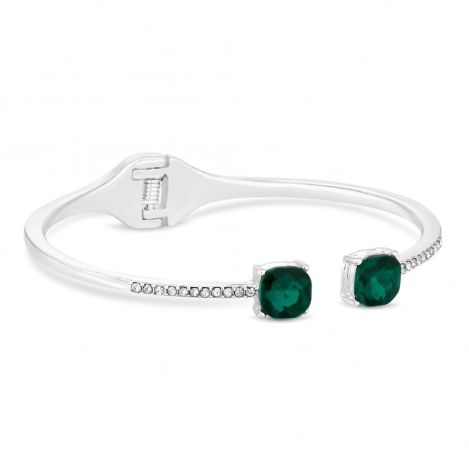 Silver Plated Green Crystal Delicate Cuff Bangle