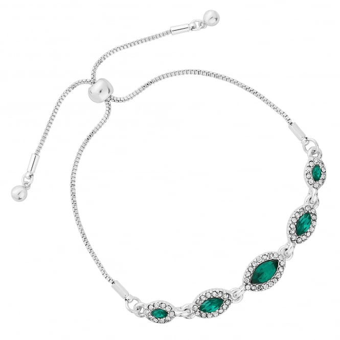 Silver Plated Green Crystal Navette Toggle Bracelet