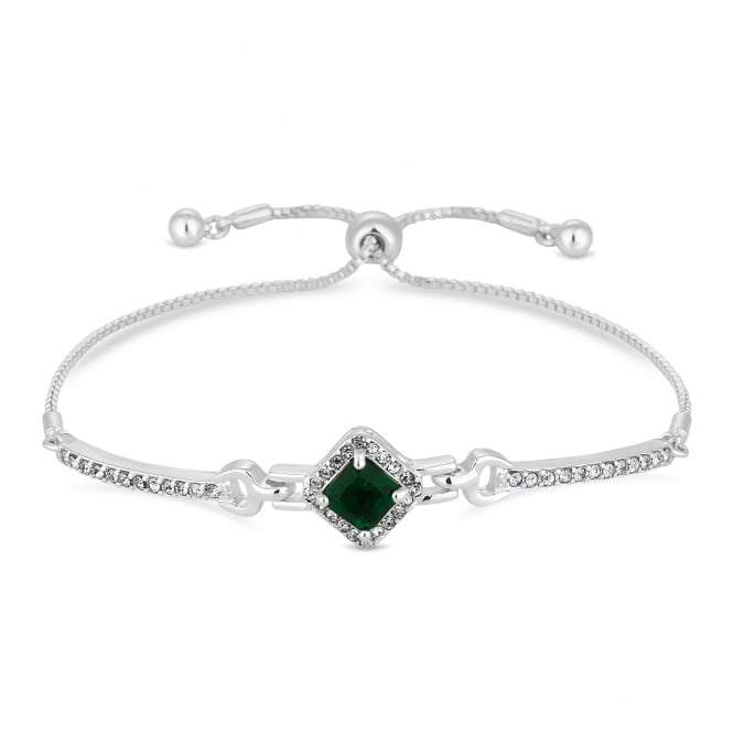 Silver Plated Green Crystal Square Toggle Bracelet