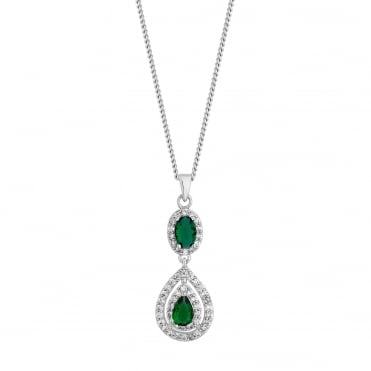 Silver Plated Green Crystal Surround Peardrop Necklace