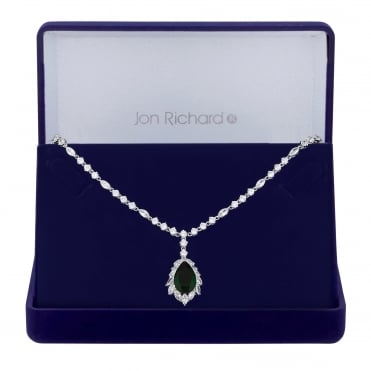 Silver Plated Green Cubic Zirconia Statement Pendant Necklace In A Gift Box