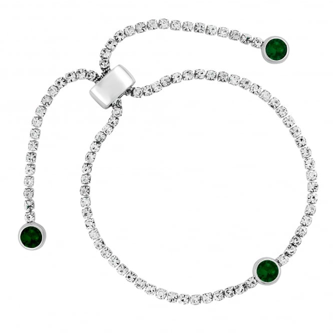Silver Plated Green Diamante Toggle Bracelet