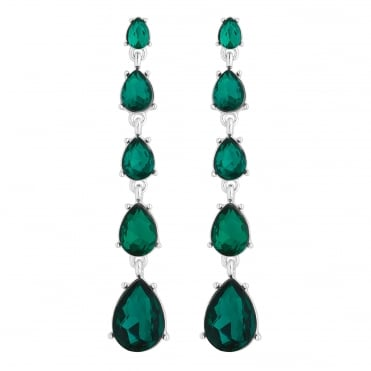 Silver Plated Green Graduated Crystal Peardrop Drop Earring