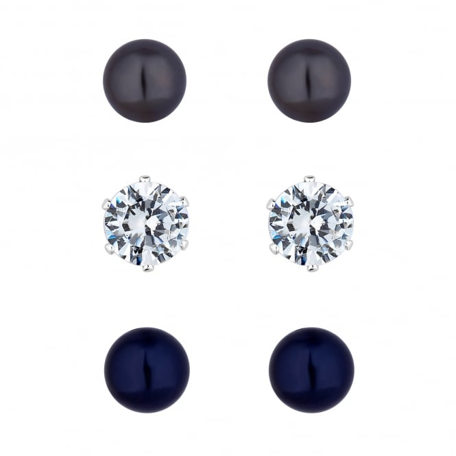 Silver Plated Grey And Navy Blue Pearl And Crystal Stud Earring Set - Pack of 3