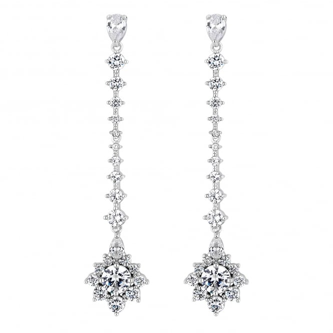 Silver Plated Halo Drop Earring