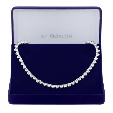 Silver Plated Heart Cubic Zirconia Necklace In A Gift Box