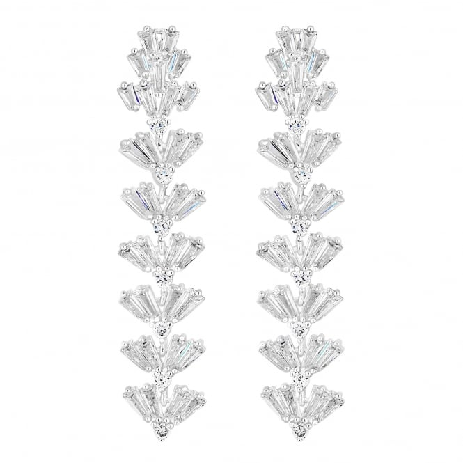 Silver Plated Iris Cubic Zirconia Baguette Long Drop Earring