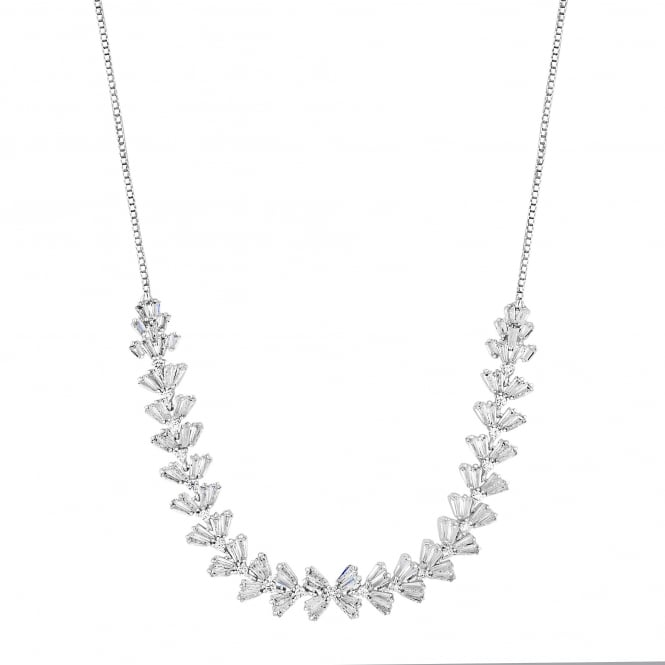 Silver Plated Iris Cubic Zirconia Baguette Toggle Necklace