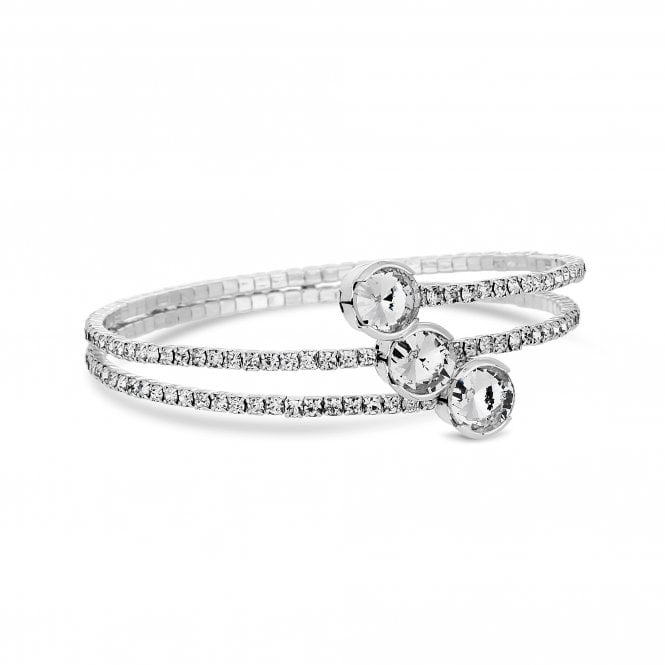 Silver Plated Large Crystal Centre Diamante Twist Bangle - Gift Boxed