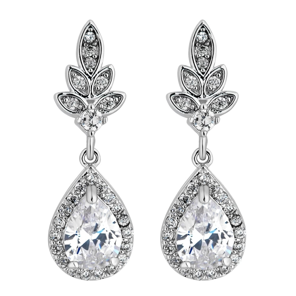 Jon Richard Silver Plated Leaf And Pear Drop Earring Jewellery From Uk