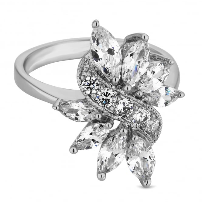Silver Plated Leaf Crystal Cluster Ring