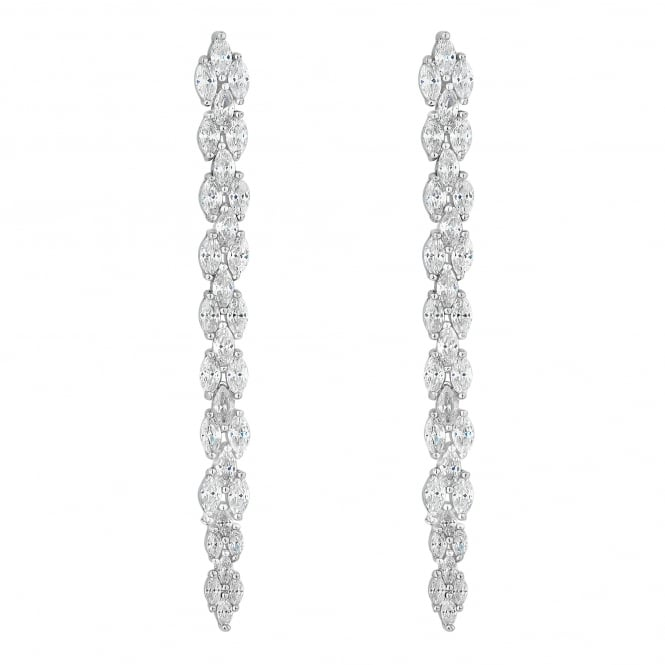 Silver Plated Mini Navette Drop Earring
