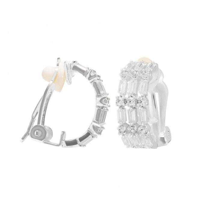 Image of Silver Plated Multi Baguette Cubic Zirconia Clip On Hoop Earring