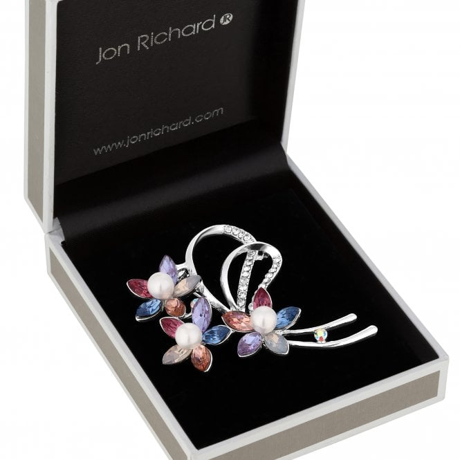 Silver Plated Multi Coloured Crystal Flower Floral Brooch