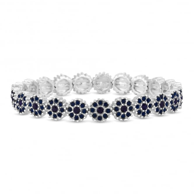 Silver Plated Navy Crystal Floral Stretch Bracelet