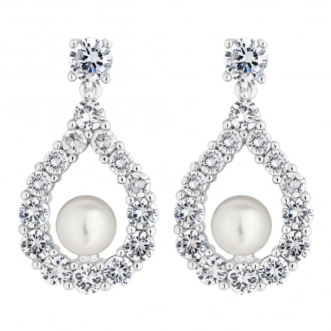 Silver Plated Open Peardrop Pearl Drop Earring