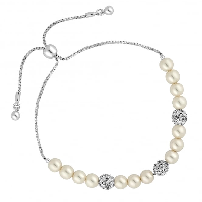 Silver Plated Pave Ball And Pearl Toggle Bracelet