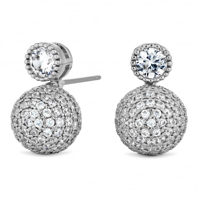 Silver Plated Pave Ball Drop Earring