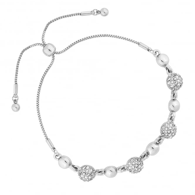 Silver Plated Pave Ball Toggle Bracelet