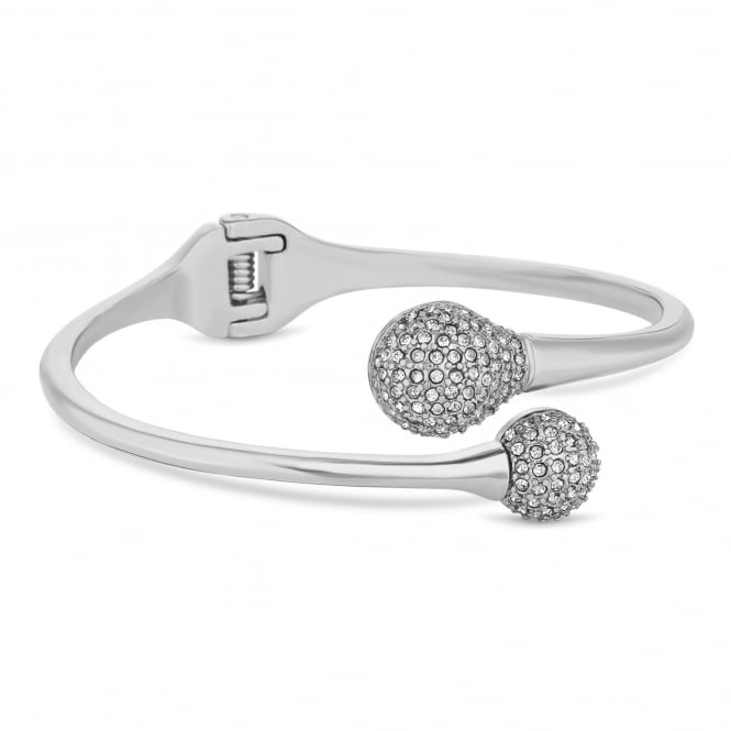 Silver Plated Pave Ball Twist Bangle