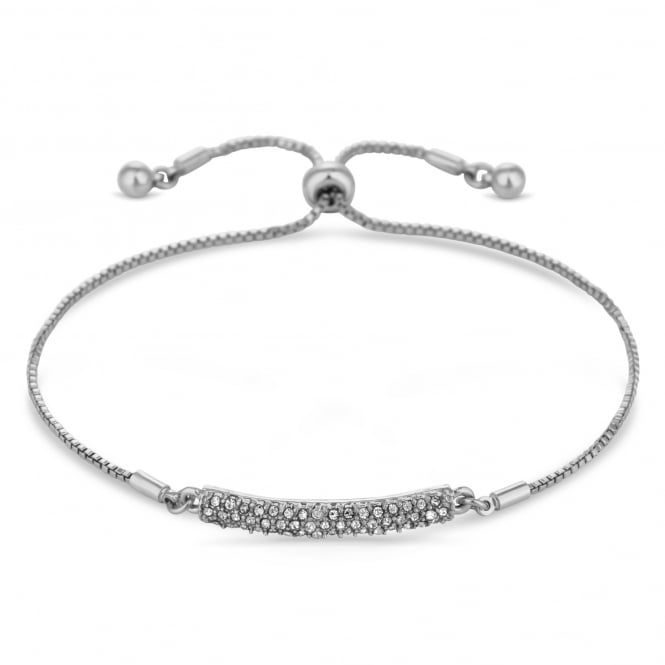 Silver Plated Pave Bar Toggle Bracelet