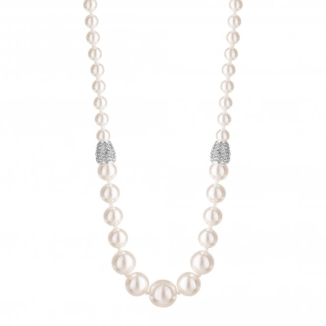 Silver Plated Pave Crystal And Cream Pearl Graduated Necklace