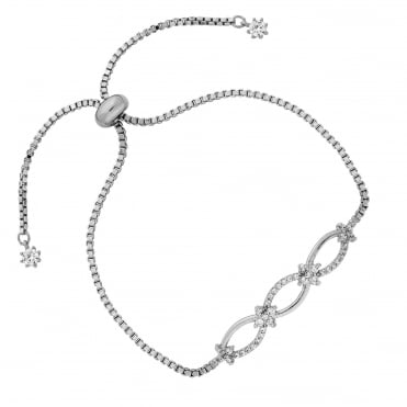Silver Plated Pave Eternity Link Toggle Bracelet