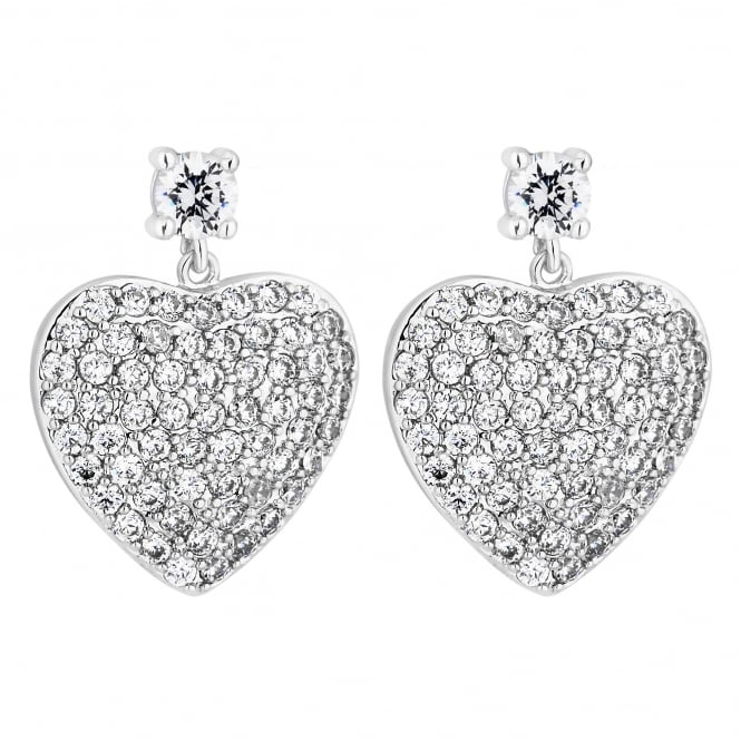 Silver Plated Pave Heart Drop Earring