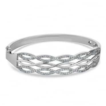 Silver Plated Pave Infinity Bangle
