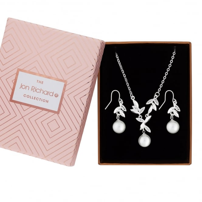 Jon Richard Silver Plated Pave Leaf And Faux Pearl Jewellery Set In A Gift Box