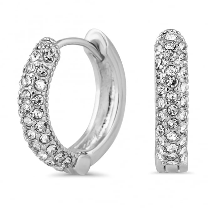 Silver Plated Pave Small Hoop Earring