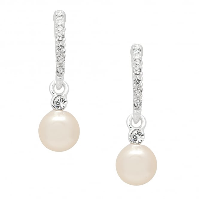 Silver Plated Pave Stick Pearl Drop Earring