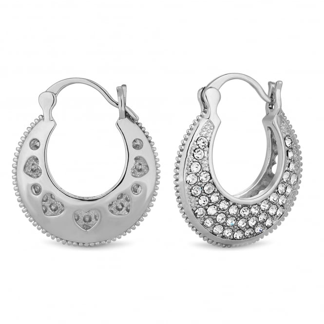 Silver Plated Pave Thick Hoop Earring