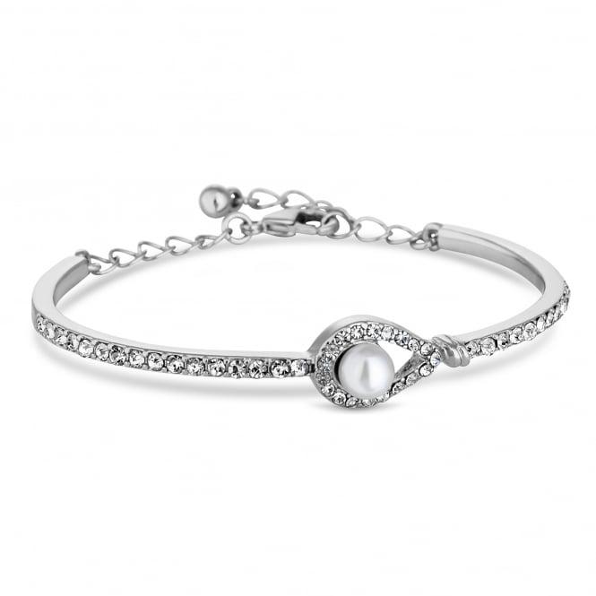 Silver Plated Peardrop Pearl Bracelet