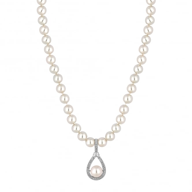 Silver Plated Peardrop Pearl Necklace
