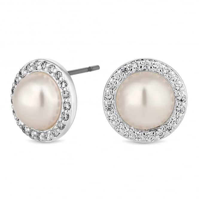Jon Richard Silver Plated Pearl And Crystal Dome Stud Earring