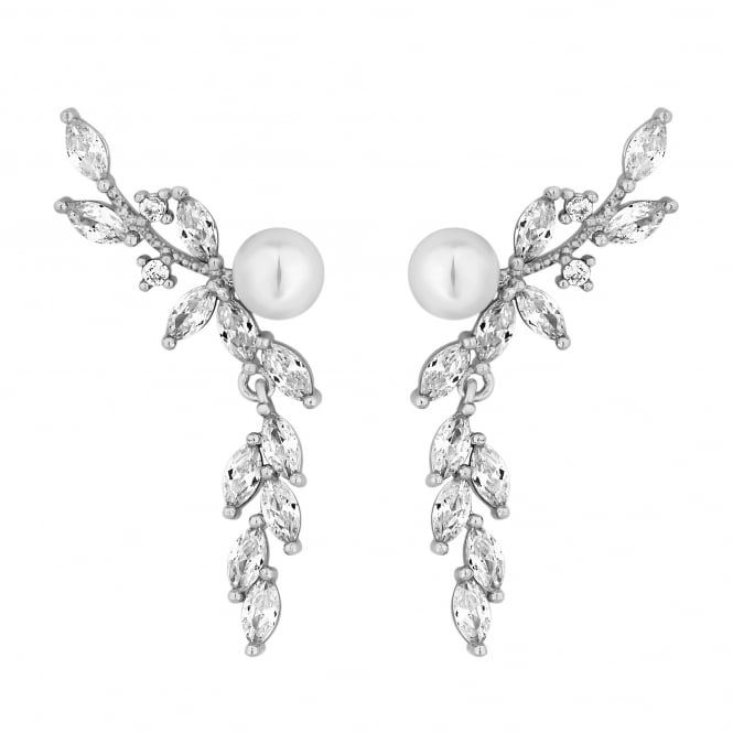 Silver Plated Pearl And Crystal Floral Drop Earring