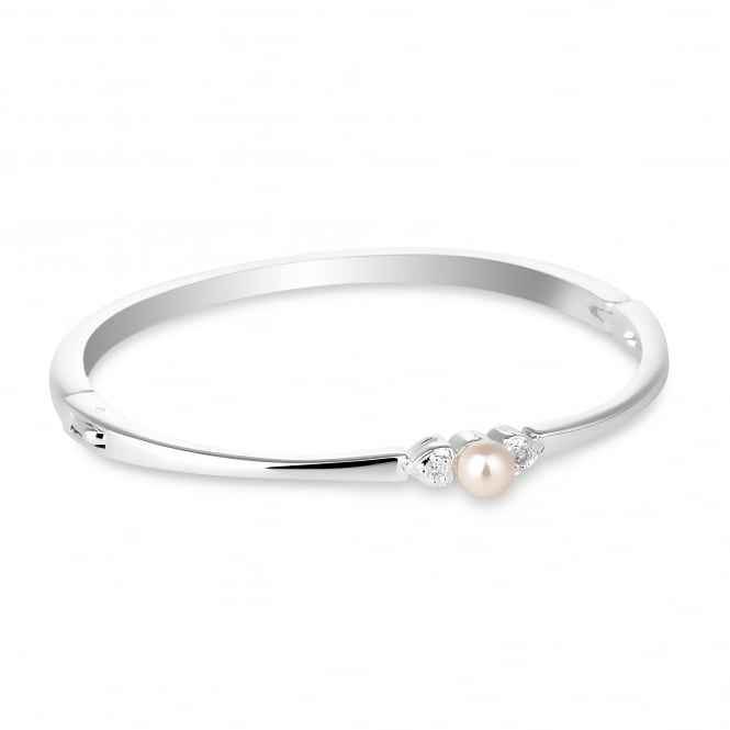 Silver Plated Pearl And Crystal Heart Bangle