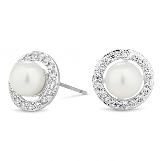 Silver Plated Pearl And Crystal Surround Disc Earring