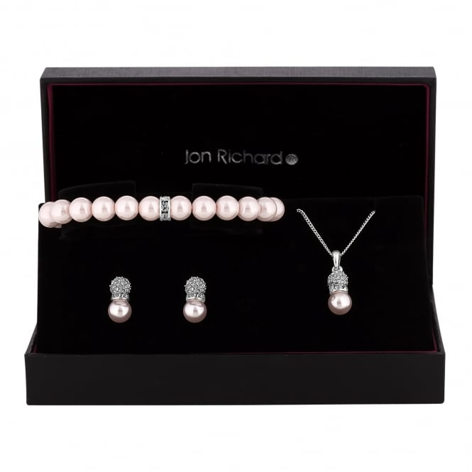 Jon Richard Silver Plated Pearl And Glass Crystal Pave Trio Jewellery Set In A Gift Box