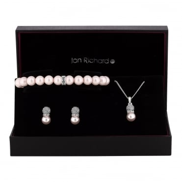 Silver Plated Pearl And Glass Crystal Pave Trio Jewellery Set In A Gift Box