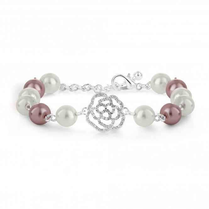 Image of Silver Plated Pink And Cream Crystal Pave Bracelet