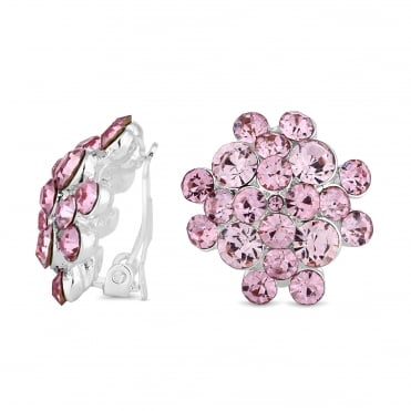 Silver Plated Pink Crystal Cluster Clip On Earring