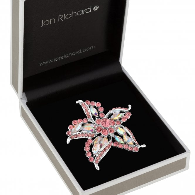 Silver Plated Pink Crystal Star Decorative Brooch